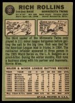 1967 Topps #98 ^COR^ Rich Rollins  Back Thumbnail