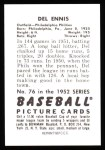 1952 Bowman REPRINT #76  Del Ennis  Back Thumbnail