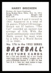 1952 Bowman REPRINT #176  Harry Brecheen  Back Thumbnail