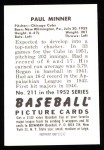 1952 Bowman REPRINT #211  Paul Minner  Back Thumbnail