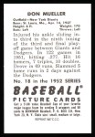 1952 Bowman REPRINT #18  Don Mueller  Back Thumbnail