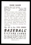 1952 Bowman REPRINT #65  Hank Bauer  Back Thumbnail