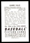 1952 Bowman REPRINT #206  Elmer Valo  Back Thumbnail