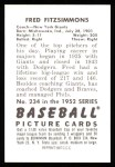 1952 Bowman Reprints #234  Fred Fitzsimmons  Back Thumbnail