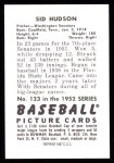1952 Bowman REPRINT #123  Sid Hudson  Back Thumbnail