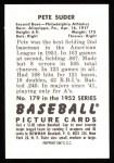 1952 Bowman REPRINT #179  Pete Suder  Back Thumbnail