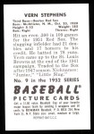 1952 Bowman REPRINT #9  Vern Stephens  Back Thumbnail