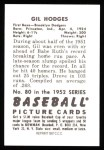 1952 Bowman REPRINT #80  Gil Hodges  Back Thumbnail