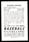 1952 Bowman REPRINT #208  Walker Cooper  Back Thumbnail