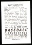 1952 Bowman Reprints #14  Cliff Chambers  Back Thumbnail