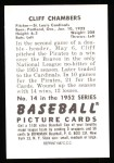 1952 Bowman REPRINT #14  Cliff Chambers  Back Thumbnail