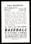 1952 Bowman REPRINT #205  Walt Masterson  Back Thumbnail