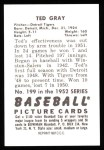 1952 Bowman REPRINT #199  Ted Gray  Back Thumbnail