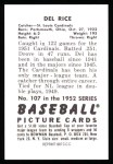 1952 Bowman REPRINT #107  Del Rice  Back Thumbnail