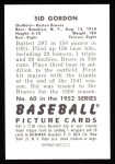 1952 Bowman REPRINT #60  Sid Gordon  Back Thumbnail
