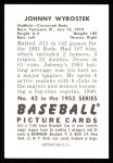 1952 Bowman REPRINT #42  John Wyrostek  Back Thumbnail