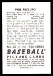 1952 Bowman REPRINT #52  Phil Rizzuto  Back Thumbnail