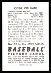 1952 Bowman REPRINT #57  Clyde Vollmer  Back Thumbnail