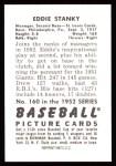 1952 Bowman REPRINT #160  Eddie Stanky  Back Thumbnail