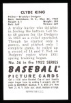 1952 Bowman REPRINT #56  Clyde King  Back Thumbnail