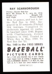 1952 Bowman REPRINT #140  Ray Scarborough  Back Thumbnail