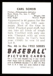 1952 Bowman REPRINT #46  Carl Scheib  Back Thumbnail