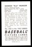 1952 Bowman REPRINT #243  Red Munger  Back Thumbnail