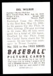 1952 Bowman REPRINT #225  Del Wilber  Back Thumbnail