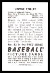 1952 Bowman REPRINT #83  Howie Pollet  Back Thumbnail
