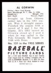 1952 Bowman REPRINT #121  Al Corwin  Back Thumbnail