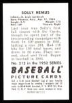 1952 Bowman REPRINT #212  Solly Hemus  Back Thumbnail