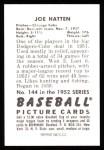 1952 Bowman REPRINT #144  Joe Hatton  Back Thumbnail