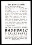 1952 Bowman REPRINT #148  Ken Heintzelman  Back Thumbnail