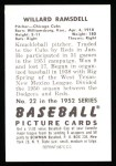 1952 Bowman REPRINT #22  Willard Ramsdell  Back Thumbnail