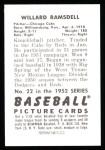 1952 Bowman REPRINT #22  Willard Ramsdell  Back Thumbnail