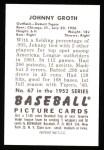 1952 Bowman REPRINT #67  Johnny Groth  Back Thumbnail