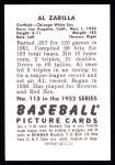 1952 Bowman REPRINT #113  Al Zarilla  Back Thumbnail