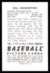 1952 Bowman REPRINT #119  Bill Howerton  Back Thumbnail