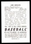 1952 Bowman REPRINT #187  Jim Hegan  Back Thumbnail