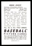 1952 Bowman REPRINT #26  Eddie Joost  Back Thumbnail