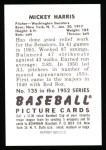 1952 Bowman REPRINT #135  Mickey Harris  Back Thumbnail