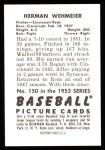 1952 Bowman REPRINT #150  Herm Wehmeier  Back Thumbnail