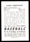 1952 Bowman REPRINT #202  Harry Perkowski  Back Thumbnail
