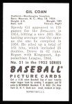 1952 Bowman REPRINT #51  Gil Coan  Back Thumbnail