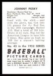 1952 Bowman REPRINT #45  Johnny Pesky  Back Thumbnail