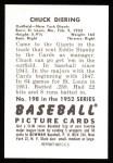1952 Bowman REPRINT #198  Chuck Diering  Back Thumbnail