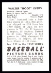 1952 Bowman REPRINT #111  Hoot Evers  Back Thumbnail