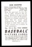 1952 Bowman REPRINT #10  Bob Hooper  Back Thumbnail