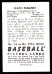 1952 Bowman REPRINT #35  Granny Hamner  Back Thumbnail