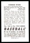 1952 Bowman REPRINT #164  Connie Ryan  Back Thumbnail